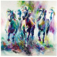 50X50cm HD Animal Home Wall Oil Painting Horses Art Painted Canvas Decor