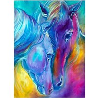 Colorful Horses 5D Full Diamond Embroidery Painting DIY Kit Round Drill Cross Stitch Mosaic Painting Home Wall Artsy Craft Decor